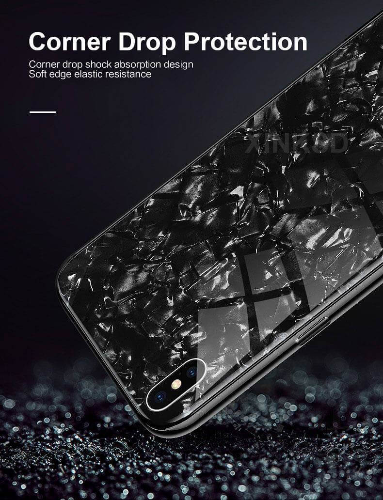 Explosion-Proof Tempered Glass Marble Pattern iPhone Case