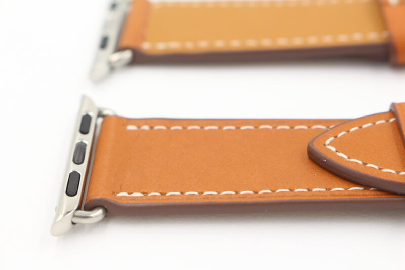 Hermes Style Deployment Buckle Single Tour Leather Band for Apple Watch 38mm/42mm/40mm/44mm