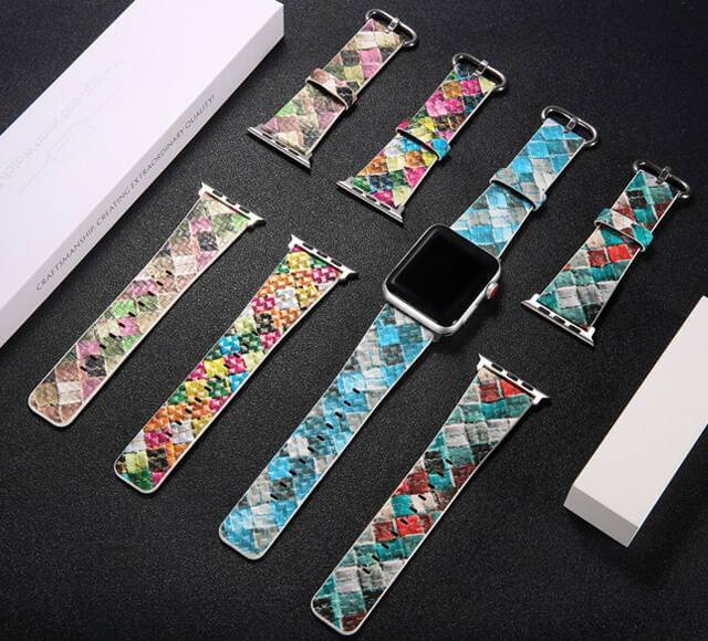 Lattice Pattern Genuine Leather Band For Apple Watch 38mm 42mm 40mm 44mm