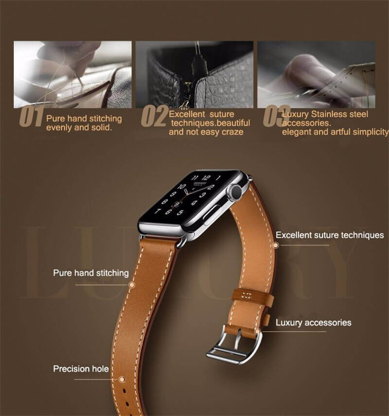 Luxury Genuine Leather Band For Apple Watch Series 4/3/2/1