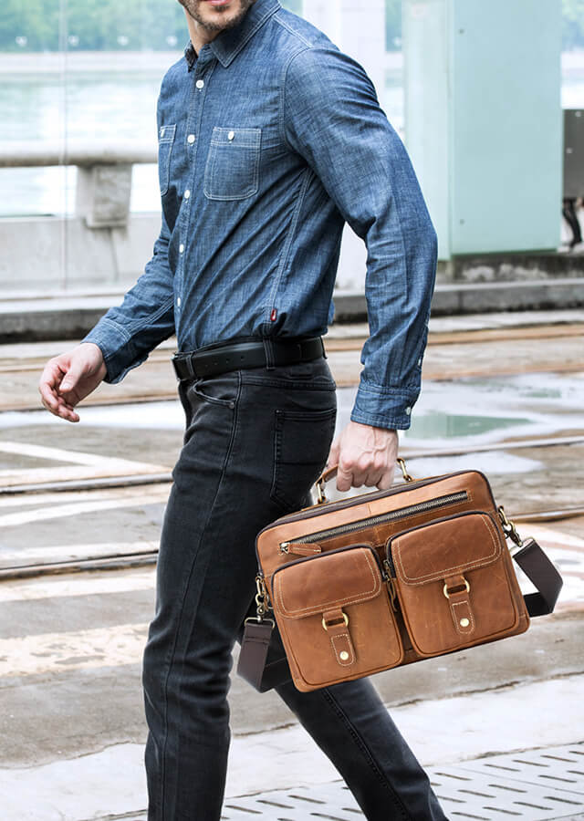 Men's Fashion Genuine Leather Shoulder Bag