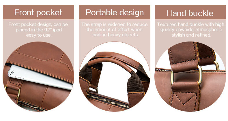 Men's Leather Diagonal Business Briefcase
