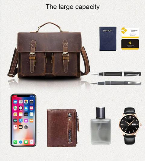 Men's Vintage Crazy Horse Leather Briefcase Shoulder Bag