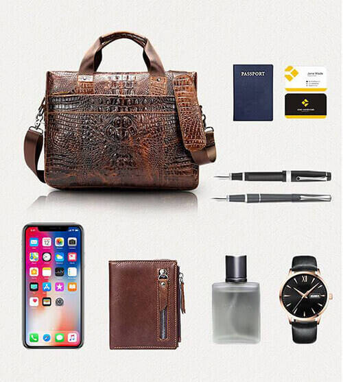 Men's Fashion Crocodile Leather Business Briefcase