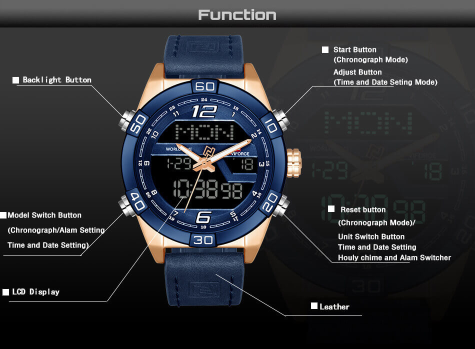 Men's Leather Military LED Digital Sports Watch