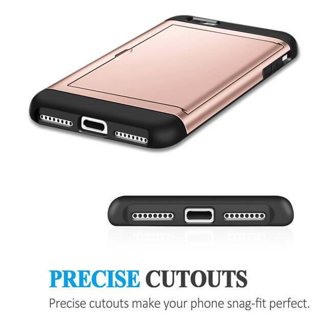 Shockproof Rubber Bumper iPhone Case With Card Holder