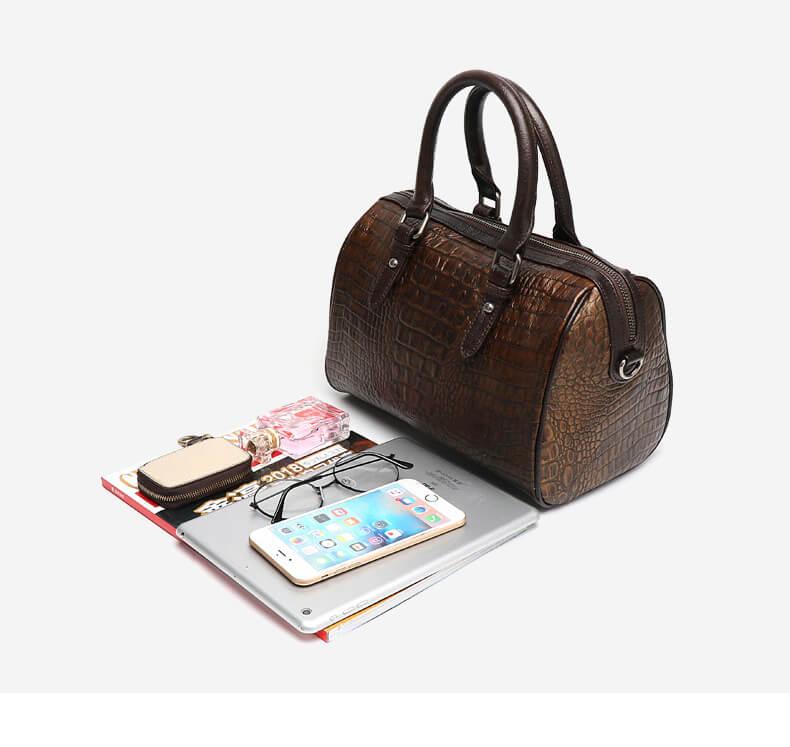 Women Boston-style Genuine Leather Tote Handbag