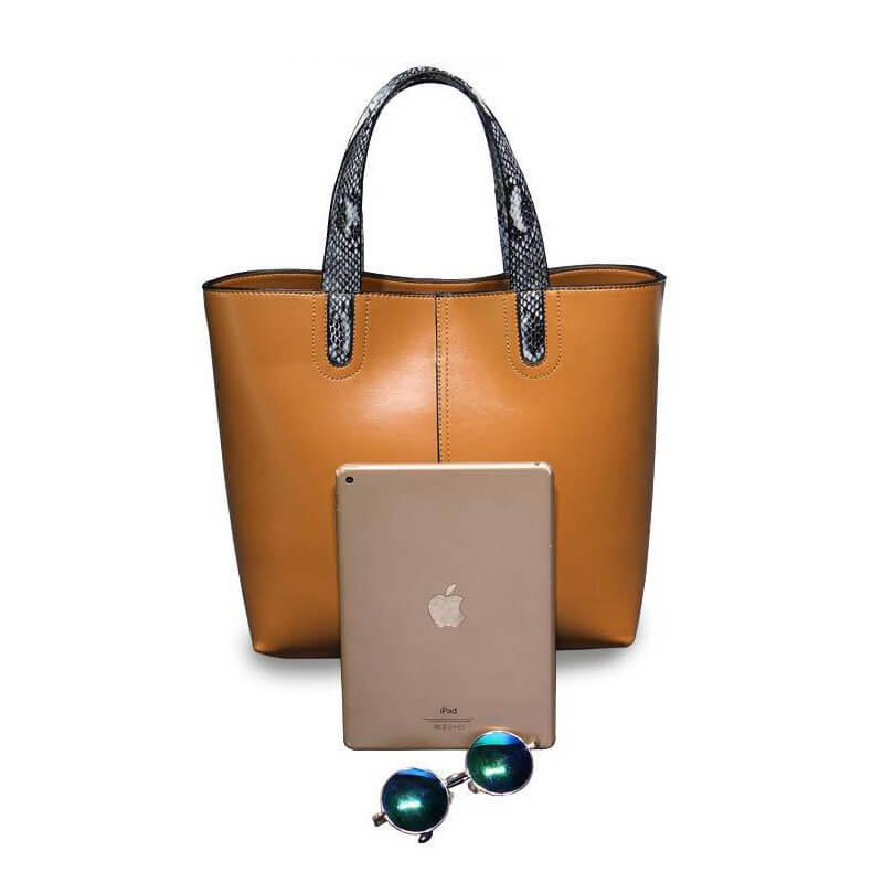 Women Large Brown Genuine Leather Tote Handbag