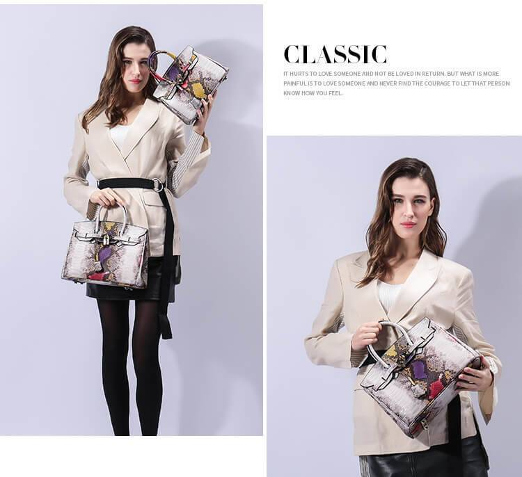 Women New Designer Genuine Leather Serpentine Tote Bag