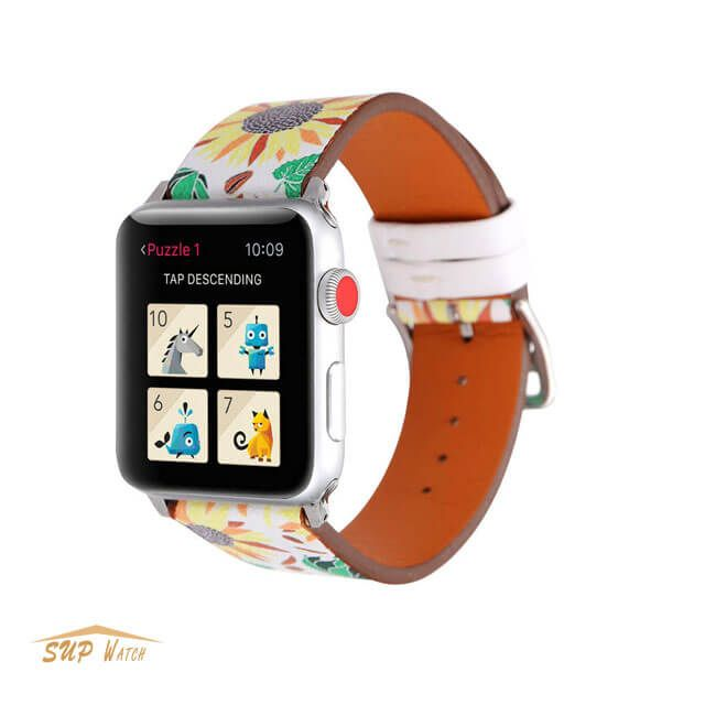 Flower Print Leather Band For Apple Watch 38mm / 42mm