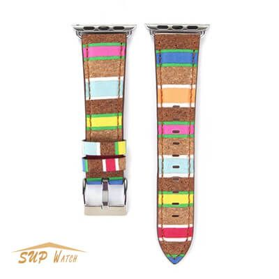 Wood Style Leather Watch Band For Apple Watch 38mm 42mm